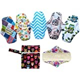 7PCS Pack 6PCS 10 Inch Regular Reusable Washable Bamboo Cloth Mama Menstrual Sanitary Pad+1PC Mini Wet Bag