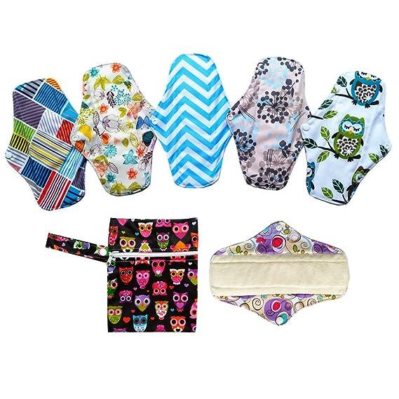 6pcs 10 pulgadas paño de bambú lavable almohadillas de Menstrual compresa + 1pc mini bolsa para ropa húmeda: Amazon.es: Bebé