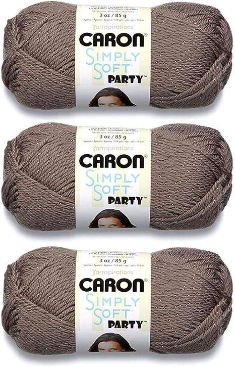 3 oz Skeins Same Dye Lot SILVER SPARKLE 4 NEW Caron Simply Soft PARTY Yarn