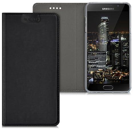 kwmobile Funda para Samsung Galaxy A5 (2016) - Carcasa con [Tapa Tipo Libro] para móvil - Case Protector en [Negro]