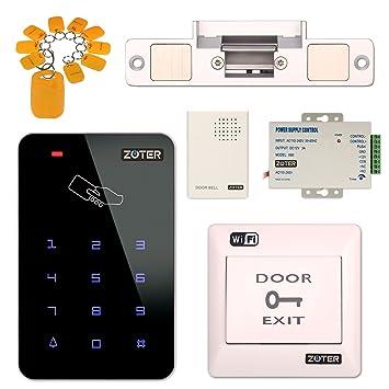 Sistema de control de acceso, ZOTER WiFi inalámbrico APP Control Home Office DIY Kit de seguridad RFID tarjeta con cerradura de puerta eléctrica NC Modo: ...