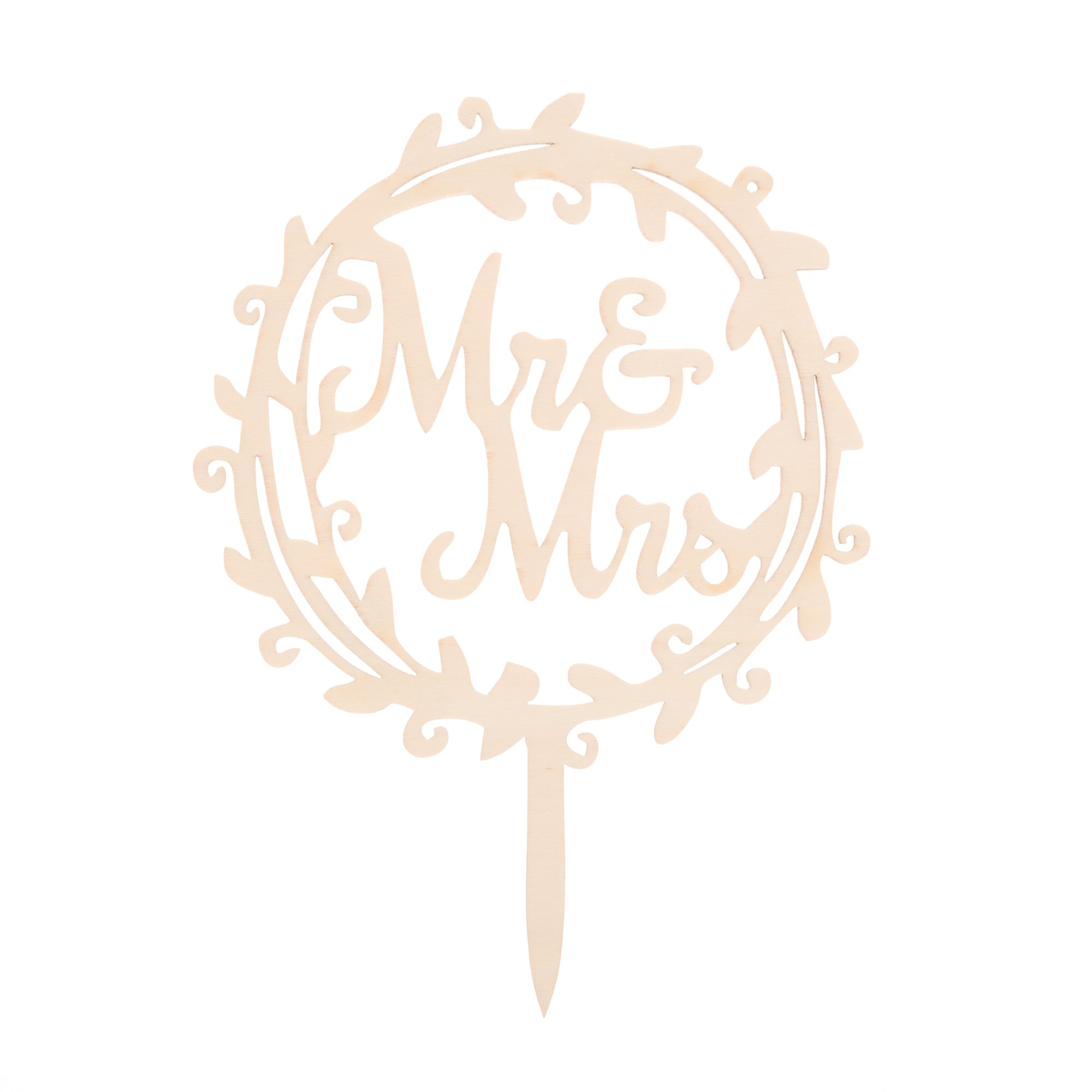 Ella Celebration Mr & Mrs Wooden Wedding Cake Topper Small 4.5 Inches Rustic Wood Floral Wreath Flowers, Olive Branch (Mr & Mrs Wreath) by Ella Celebration (Image #5)