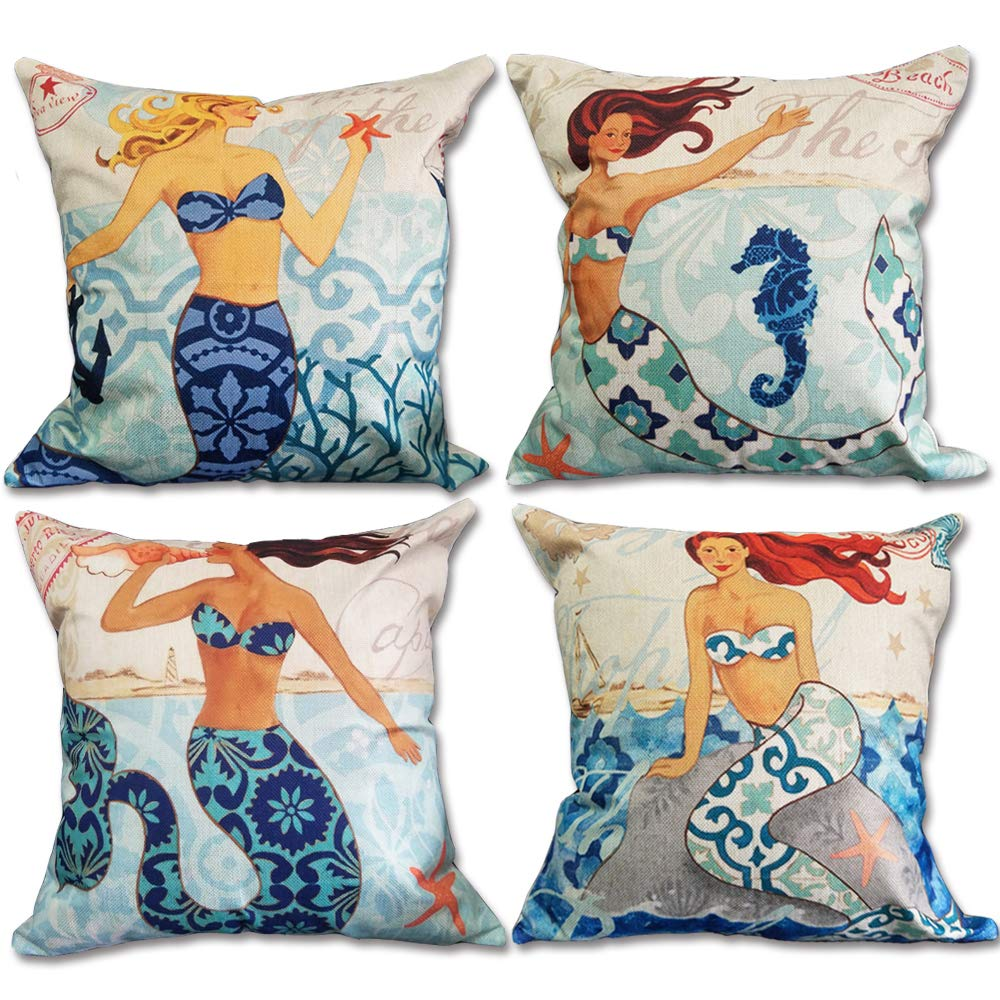 4-Pack Mermaid Decorative Throw Pillow Cover 18×18 Inch, Home D cor Garden Outdoor Pillow Cushion Cases for Couch, Sofa, Bed, Patio W O Insert