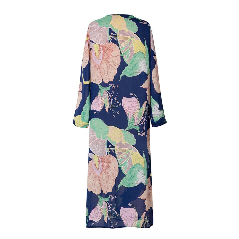 ff68728a53f Mujeres Tops❤️EUZeo❤️Las Mujeres gasas Chal Flojo Estampado Kimono Cardigan  Top Cover Up Blusa Beachwear Chaqueta Jersey De Abrigo Chaqueta  Amazon.es   ...