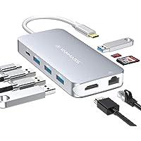 VANMASS USB C Hub 9 in 1 mit 4 VR Chips USB-C Port 90W PD 4K HDMI Ausgang USB C Adapter mit 4 USB 3.0 Port SD/TF Leser QC Port Ethernet für MacBook Chromebook Sumsung und mehr Type-C Geräte (Grau)