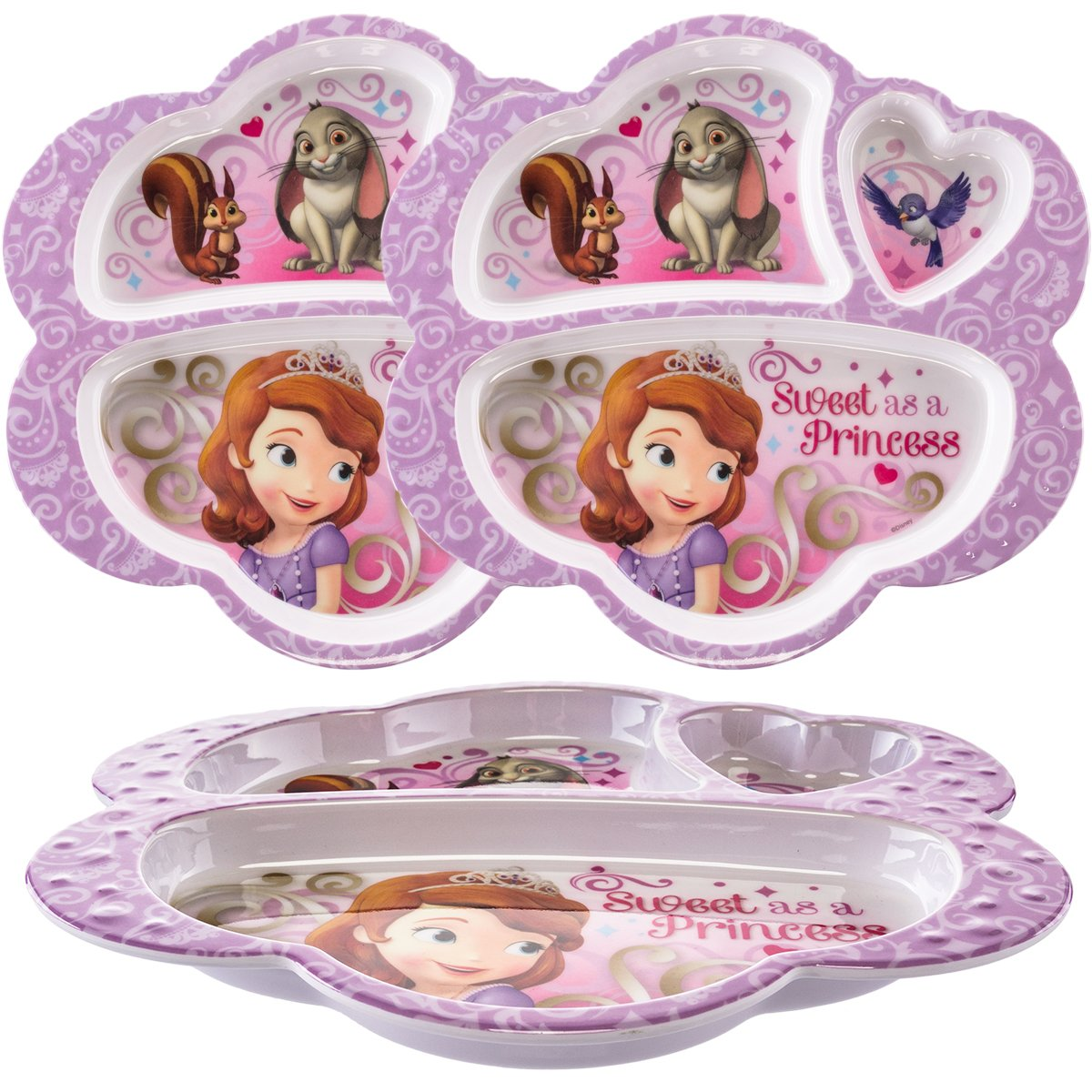 65%OFF【送料無料】 Zak B077TLCTHN。(3パック) Disney Princess Sofia文字プラスチック3-section。(3パック) Divided Kids Plates Divided B077TLCTHN, ファッション:69306a2a --- beyonddefeat.com