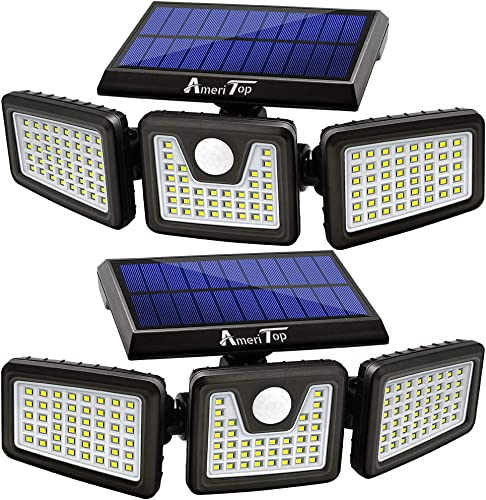 Solar Lights Outdoor, AmeriTop 128 LED 800LM Wireless LED Solar Motion Sensor Lights Outdoor 3 Adjustable Heads, 270 Wide Angle Illumination, IP65 Waterproof, Security LED Flood Light- 2 Pack
