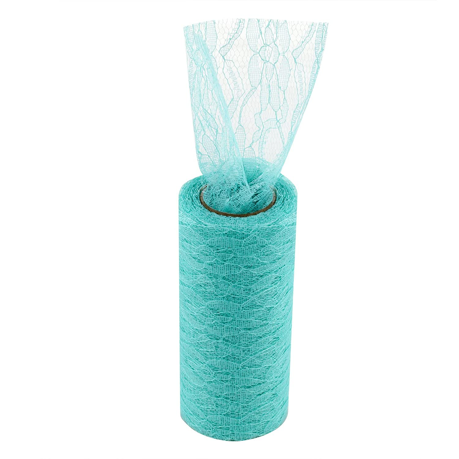 vLoveLife Teal Green 6x 10Yards Vintage Lace Roll Fabric Netting Nylon Tulle Roll For Tutu Skirt Table Runner Chair Sash DIY Material Wedding Party Art Sewing Decor