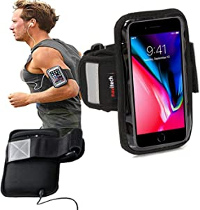 "Navitech Black/ Silver Neoprene Water Resistant Sports Gym, Jogging / Running Armband Case with Compatible With The Larger Smart Phones (4.0 "") Such As: iPod touch (1st, 2nd, 3rd, 4th generation), iPod nano (1st, 2nd, 3rd, 4th, 5th, 6th generation), iPod shuffle (1st, 2nd, 3rd, 4th generation), iPod with color display / iPod Photo, iPod mini (1st, 2nd generation), iPod (iPod Classic / Click Wheel / Touch Wheel / Scroll Wheel)"