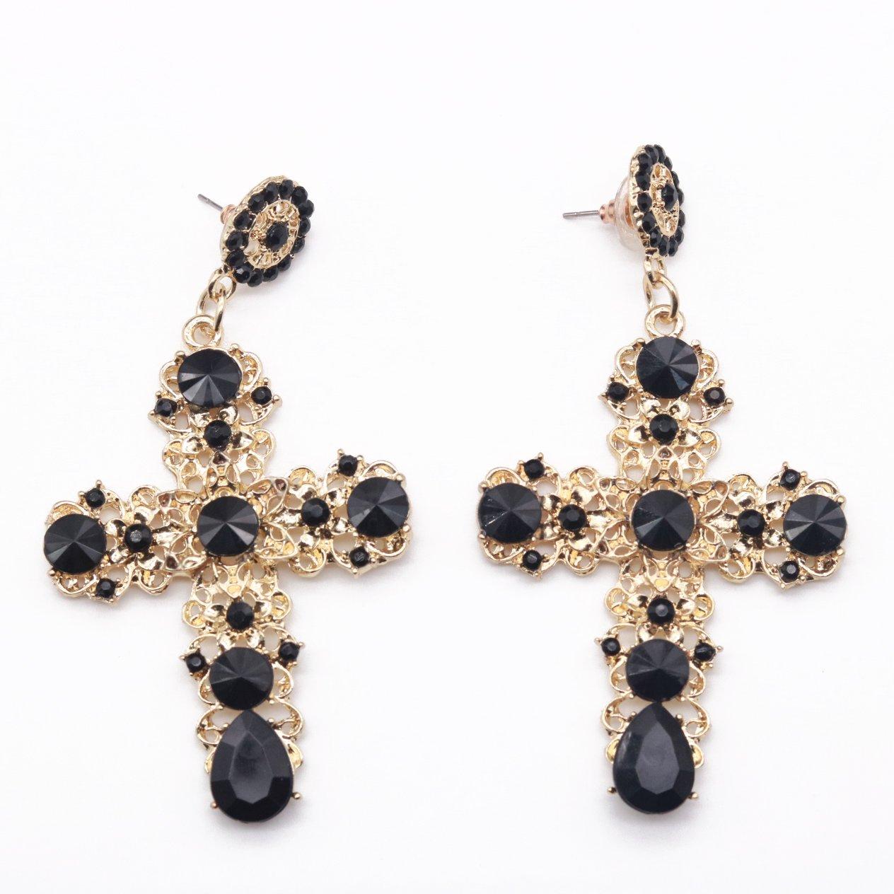 Kercisbeauty Boho Halo Chapel Cross Pendant Earrings Studs with Rhinestones Dangles for Women and Teen Girls, Back to School Halloween Party