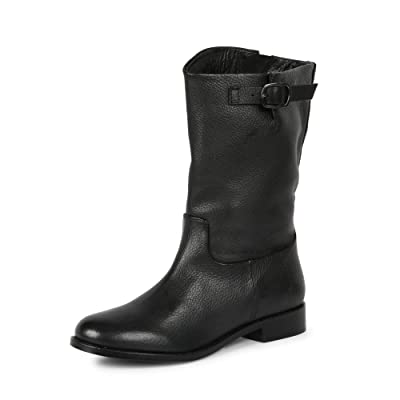 SaintG Womens Black Leather Calf Length Boots | Boots