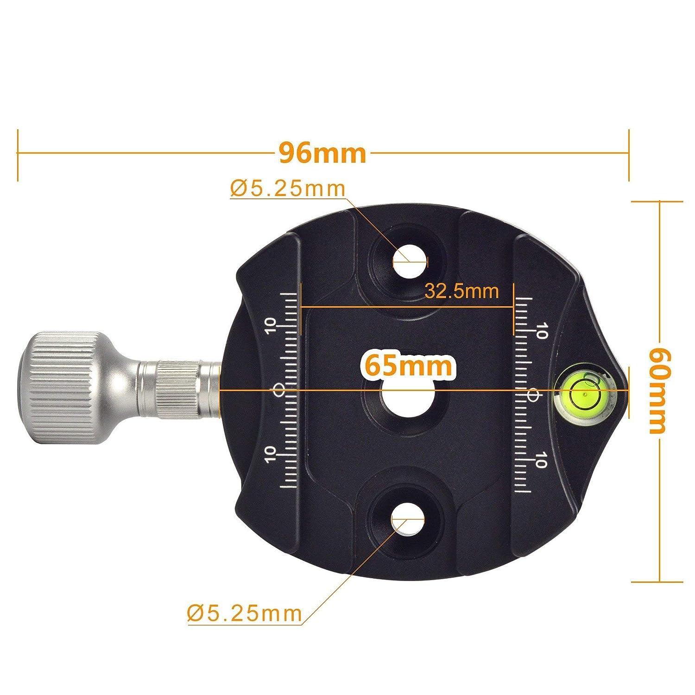 Kirk Wimberley SIRUI ARCA SWISS con placa de encaje para posici/ón vertical Markins etc con nivel y regla integrados compatibles con RRS MENGS/® DC-50N Pinza de c/ámara de 50 mm para tornillo de 1//4 de aluminio macizo