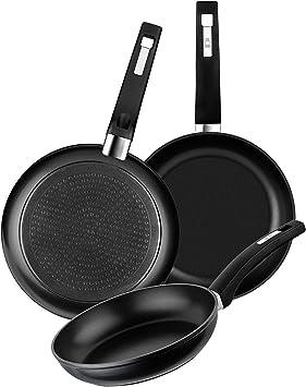 BRA Set de 3 sartenes de aluminio forjado con antiadherente, 18-22-26 cm, aptas para todo tipo de cocinas incluida inducción y vitrocerámica: Amazon.es: Hogar
