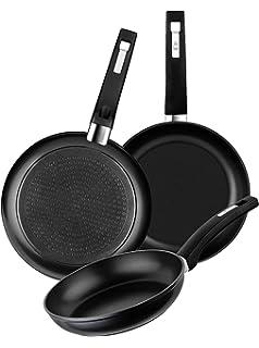 BRA Premiere- Set de 3 sartenes, aluminio fundido antiadherente, aptas para todo tipo de cocinas, incluido inducción, 18, 22 y 26 cm: Amazon.es: Hogar