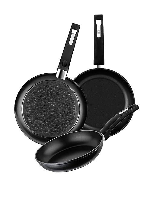 BRA Set de 3 sartenes de aluminio forjado con antiadherente, 18-22-26 cm, aptas para todo tipo de cocinas incluida inducción y vitrocerámica