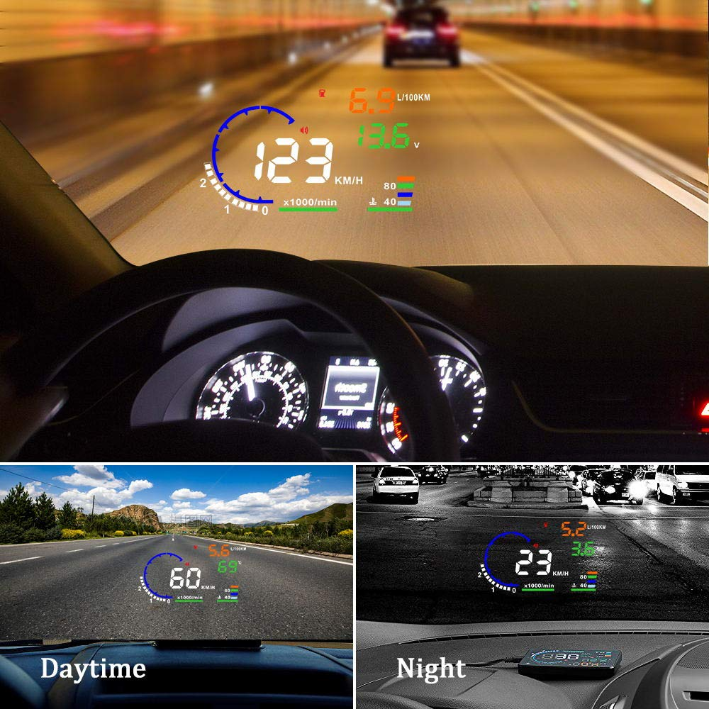 Trainshow A8 Head Up Display,5.5'' OBD II Car Windshield HUD with Speed Fatigue Warning RPM MPH Fuel Consumption Multiple-Color Bright Speeding Warning by Trainshow Online (Image #3)