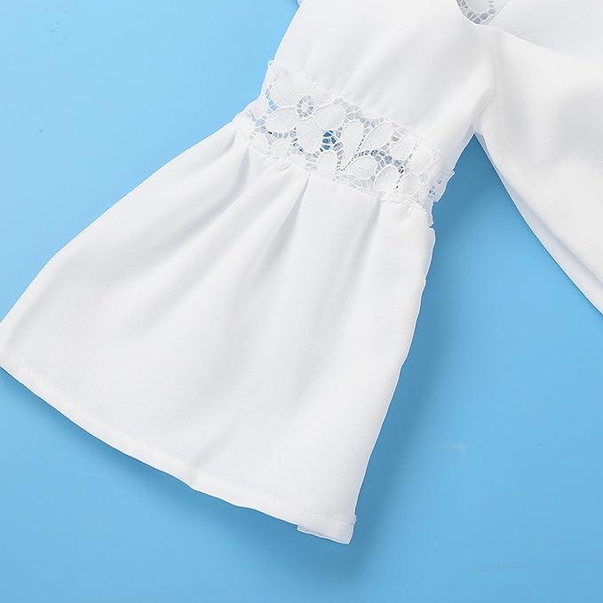 Agoky Blusa Blanca para Niñas Camiseta Manga de Volante con Encaje ...