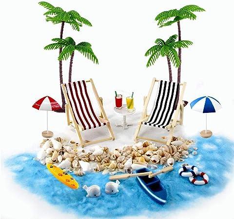 Strand Mikrolandschaft Miniliegestuhl Strandkorb Sonnenschirm Kleine Palme Deko Accessoires 16 Stück Miniatur Ornament Set Für Diy Fee Garten