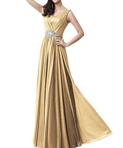 Yougao Women's Floor Length Beading Bridesmaids Dresses Prom Gown Evening Party Dresses