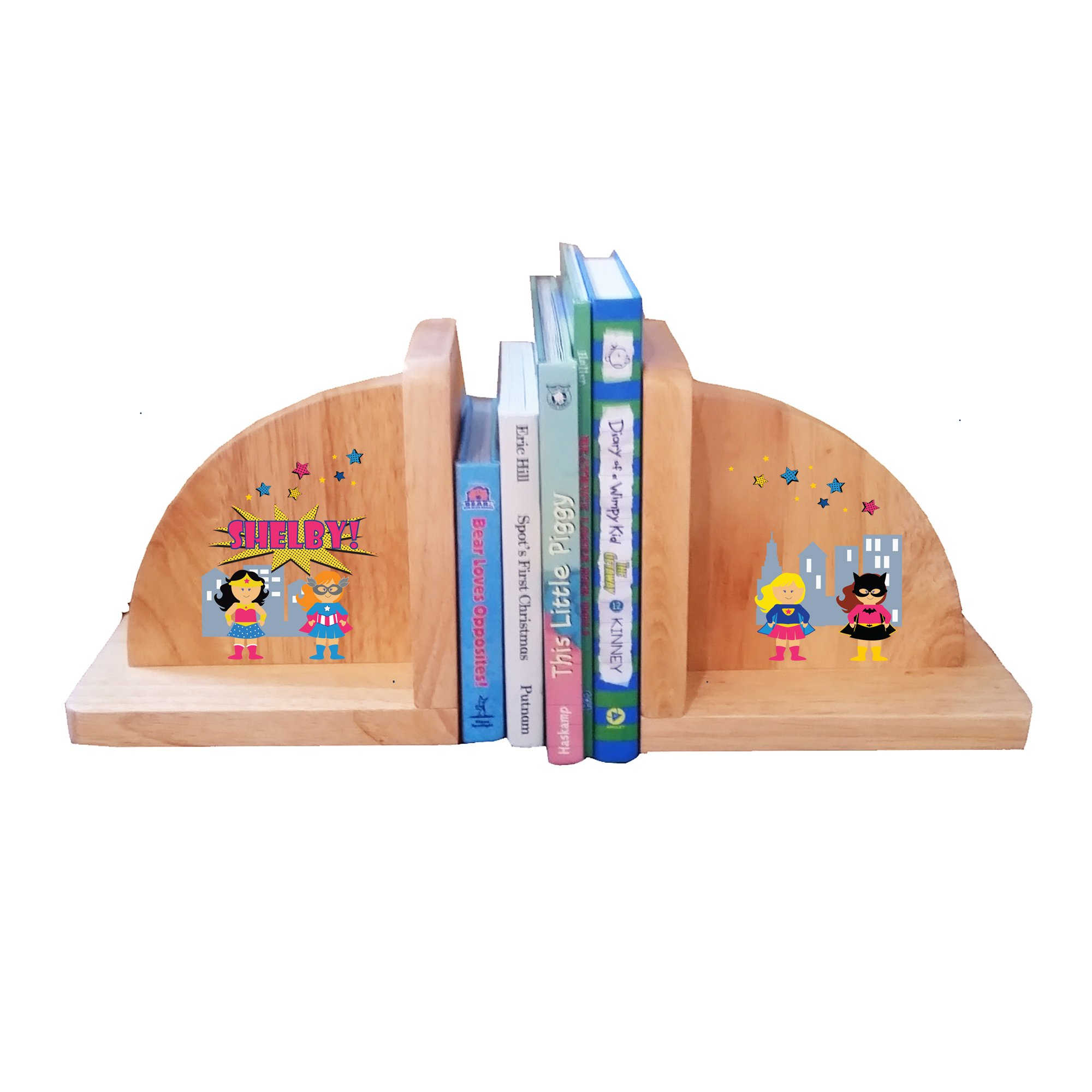 Personalized Natural Childrens Wooden Bookends