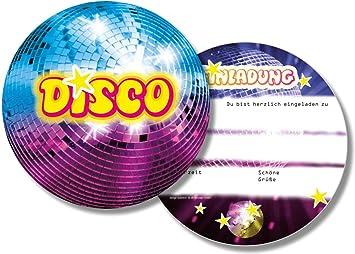 6 Einladungskarten * Disco * Für Kindergeburtstag Und Party Von DH Konzept  // DISCOE020