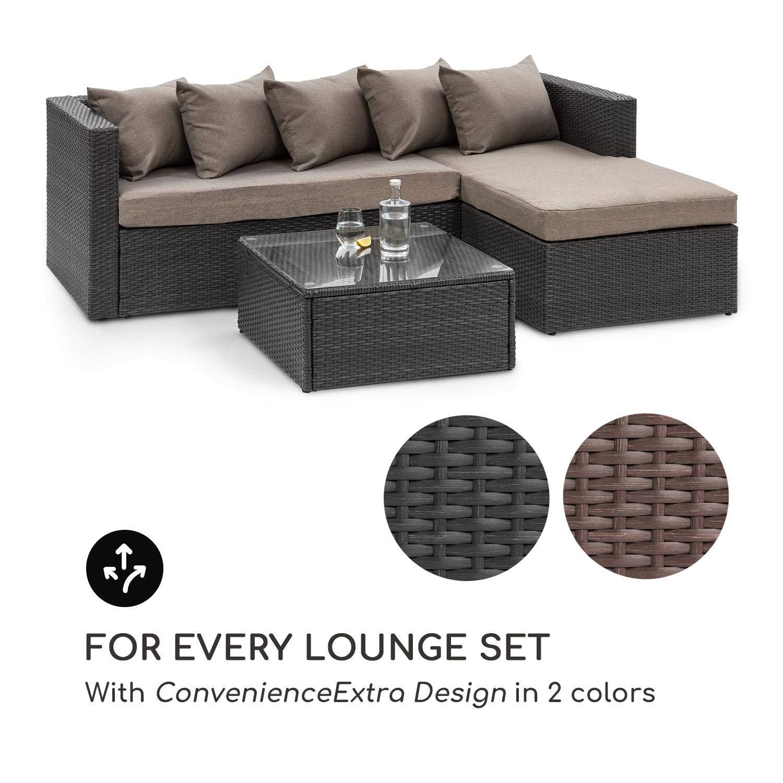 Blumfeldt Theia Table Lounge Table dappoint Table de Jardin /• Polyrattan /• Plateau en Verre /• Marron
