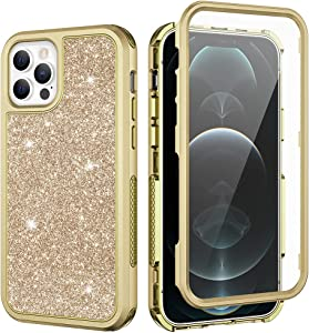 Ruky iPhone 12 Pro Case, iPhone 12 Glitter Full Body with Built-in Screen Protector Shiny Sparkle Bling Soft TPU+Hard PC Heavy Duty Shockproof Protective Women Girls Case for iPhone 12 & 12 Pro, Gold