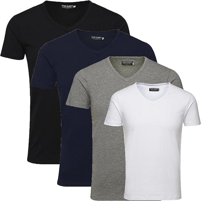 f9f80d21bd346c JACK   JONES Herren T-Shirt Basic 4er PACK O-Neck V-Neck Tee (M
