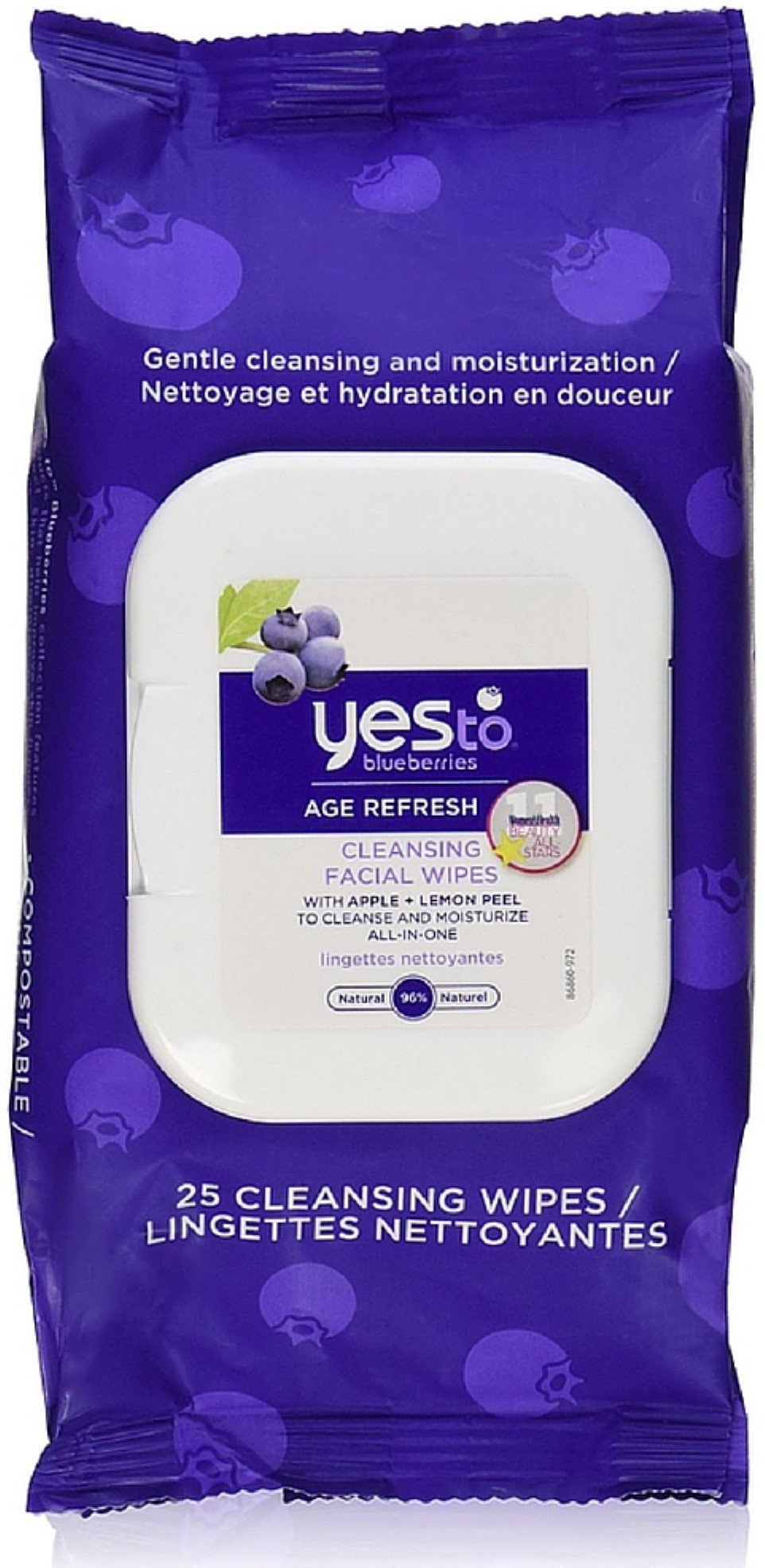 Yes to Blueberries Age Refresh Cleansing Facial Towelettes 25 ea (Pack of 12)