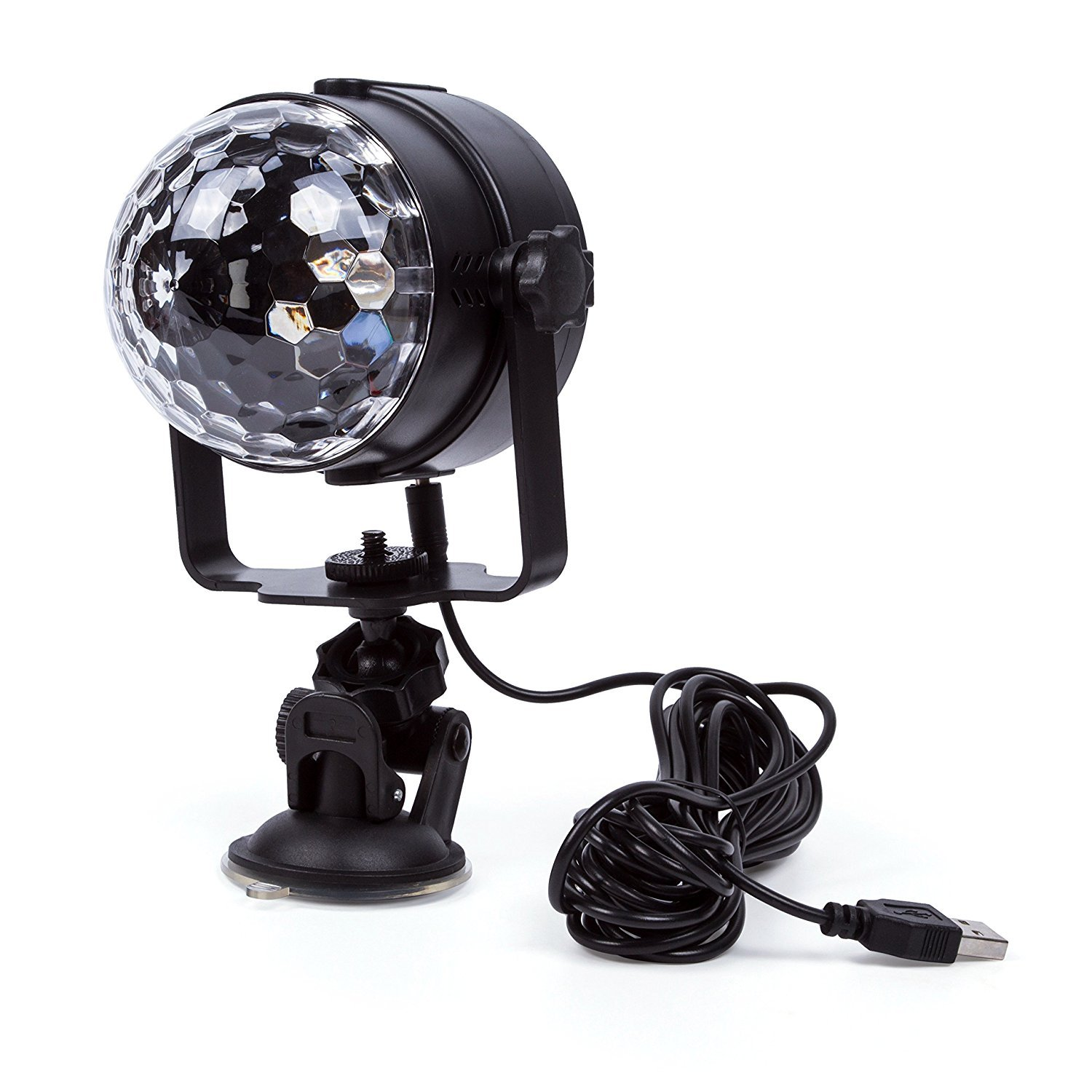 ELEOPTION Mini Stage LED Light 3W RGB Crystal Magic Ball LED Lamp 7 Colors Rotating Outdoor Car Stage DJ Disco Light USB Rechargeable Self-Propelled & Sound Activated Colorful Light by Eleoption (Image #1)