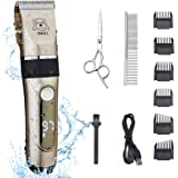 IWEEL Dog Clippers, 2-Speed Professional Rechargeable Cordless Cat Shaver and Low Noise Water Proof Electric Dog Trimmer…
