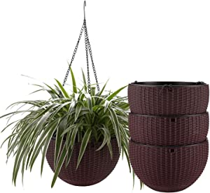 T4U Plastic Hanging Planter Coffee Brown Pack of 4, Self Watering Basket Round Flower Plant Orchid Herb Holder Container for Home Office Garden Porch Balcony Wall Indoor Outdoor Decoration Gift