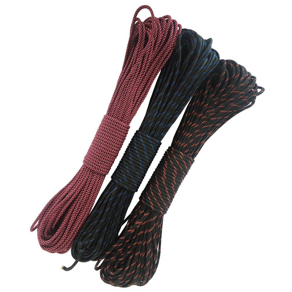 Nylon Rope Tie Down Rope - 50-100 Feet 550 Paracord Parachute Cord Lanyard Mil Spec Type III 7 Strand Core Camping hiking emergency survival Cord - Climbing Rope (100FT Message Color) by Generic