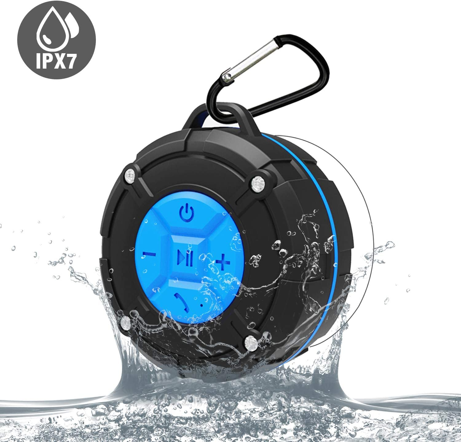 Camping Cycling Portable Wireless Mini Waterproof Stereo Sound System for Shower,Portable IPX7 Waterproof Wireless Bluetooth Speaker,Bluetooth Shower Speaker,Outdoor Hiking
