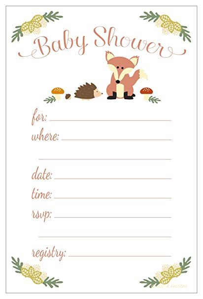 Amazon Fox Baby Shower Invitations Fill In Style 20 Count