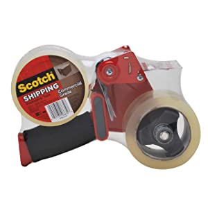 Scotch Commercial Grade Shipping Tape, 2 Rolls of Tape, 1 Dispenser (3750-2-ST)
