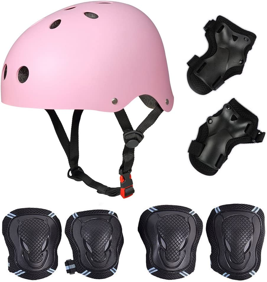 SymbolLife Helmet with 6pcs Elbow Knee Wrist Pads for Kids BMX// Skateboard// Scooter// Cycling Skateboard // Skate Protection Set with Helmet 57-62cm L For Head Size S 52-57cm 48-52cm M Pink, Medium