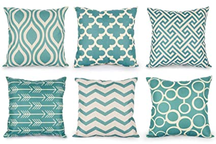 Top Finel Accent Decorative Throw Pillows Durable Cotton Linen Outdoor  Cushion Covers 16 X 16 for Couch Bedroom, Set of 6, Green