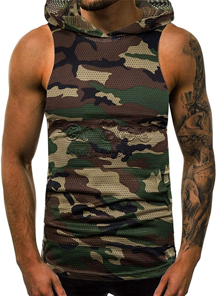Tank Tops Hoodies for Men F/_Gotal Mens Fashion Summer Sleeveless Camouflage Casual Outdoor Vest Hoodies Blouse Tops