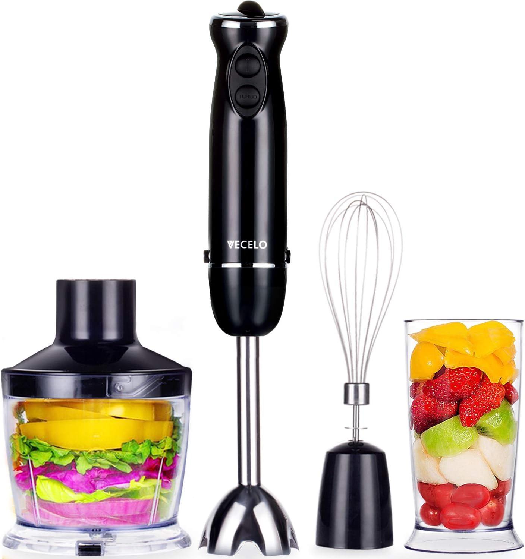 VECELO Premium 4-in-1 Immersion Hand Blender Set with Food Processor Chopper Egg Whisk 500ml Beaker 6 Variable Speeds – Black