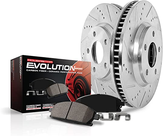 Power Stop K2779 Front and Rear Z23 Evolution Brake Kit with Drilled//Slotted Rotors and Ceramic Brake Pads