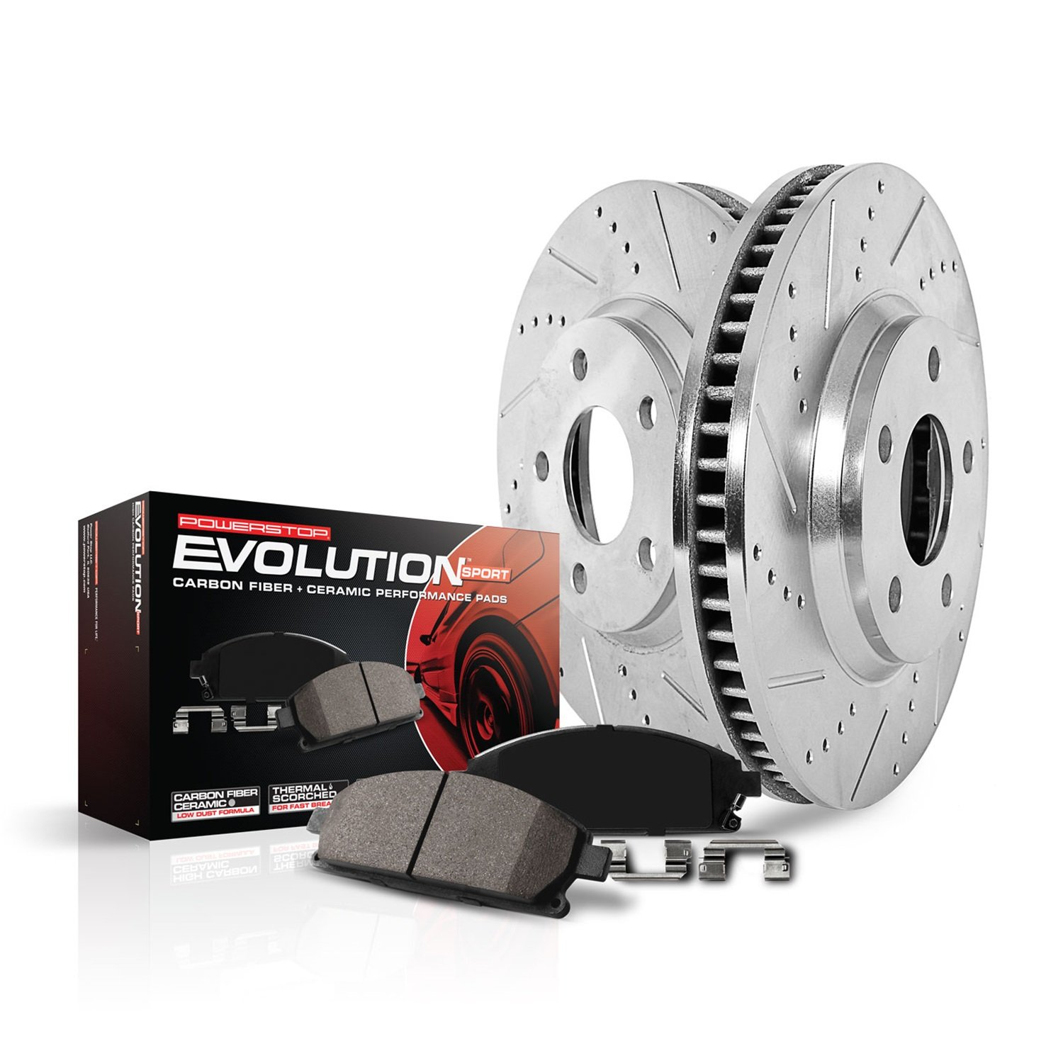 Power Stop K6750 Front Z23 Evolution Brake Kit (with Drilled/Slotted Rotors and Ceramic Brake Pads) by Power Stop