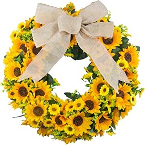 Bosslandy Artificial Sunflower Wreath Summer Fall Large Wreaths 20 Inch for Front Door Fake Flower Wreath Springtime All Year Around Flower Green Leaves Wall Or Window Kitchen Decor