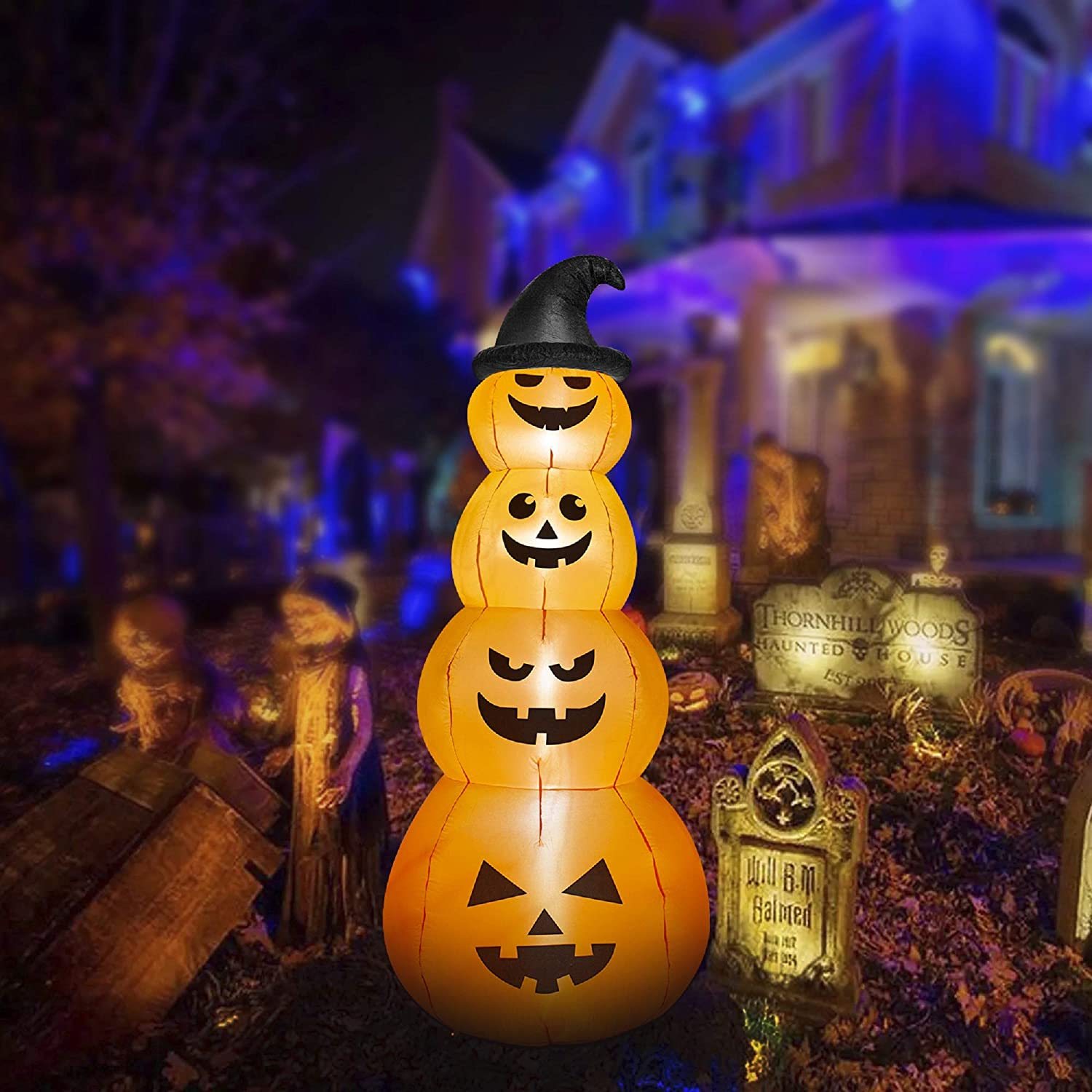 HOOJO 8 FT Halloween Inflatable Stacked Pumpkins Outdoor Decoration with Build in LEDs, Blow up Indoor, Yard, Garden Lawn Decoration