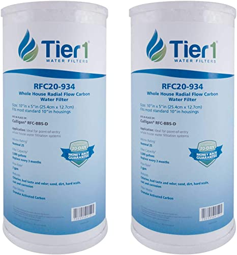 Tier1 FXHTC 25 Micron 10 x 4.5 Granular Activated Carbon Block Pentek RFC-BB Comparable Replacement Water Filter 2-Pack