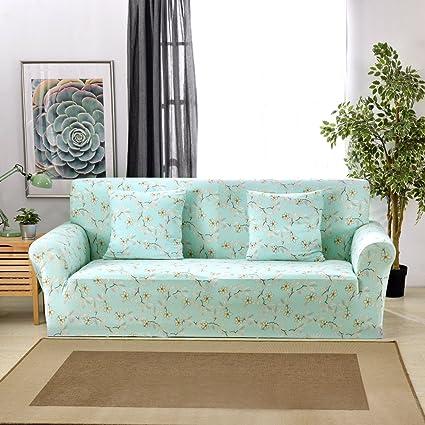 Funda elástica protectora y antideslizante de poliéster para sillones de 1, 2, 3 o 4 plazas, flores, 4 Seater:235-300cm