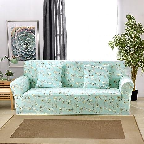 Funda elástica protectora y antideslizante de poliéster para sillones de 1, 2, 3 o 4 plazas, flores, 1 Seater:90-140cm