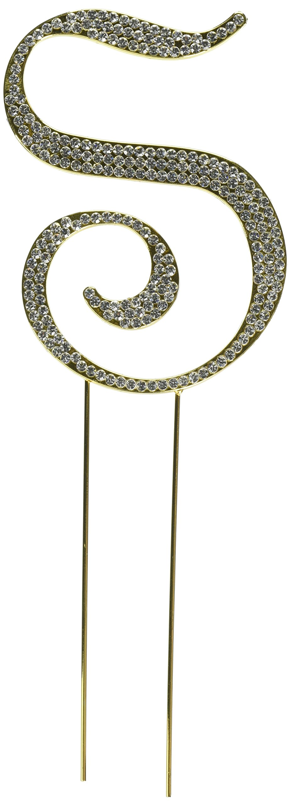 Unik Occasions Sparkling Collection Crystal Rhinestone Monogram Cake Topper - Letter S, Large, Gold
