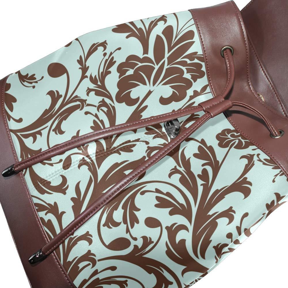 KEAKIA Women PU Leather Floral Pattern Backpack Purse Travel School Shoulder Bag Casual Daypack