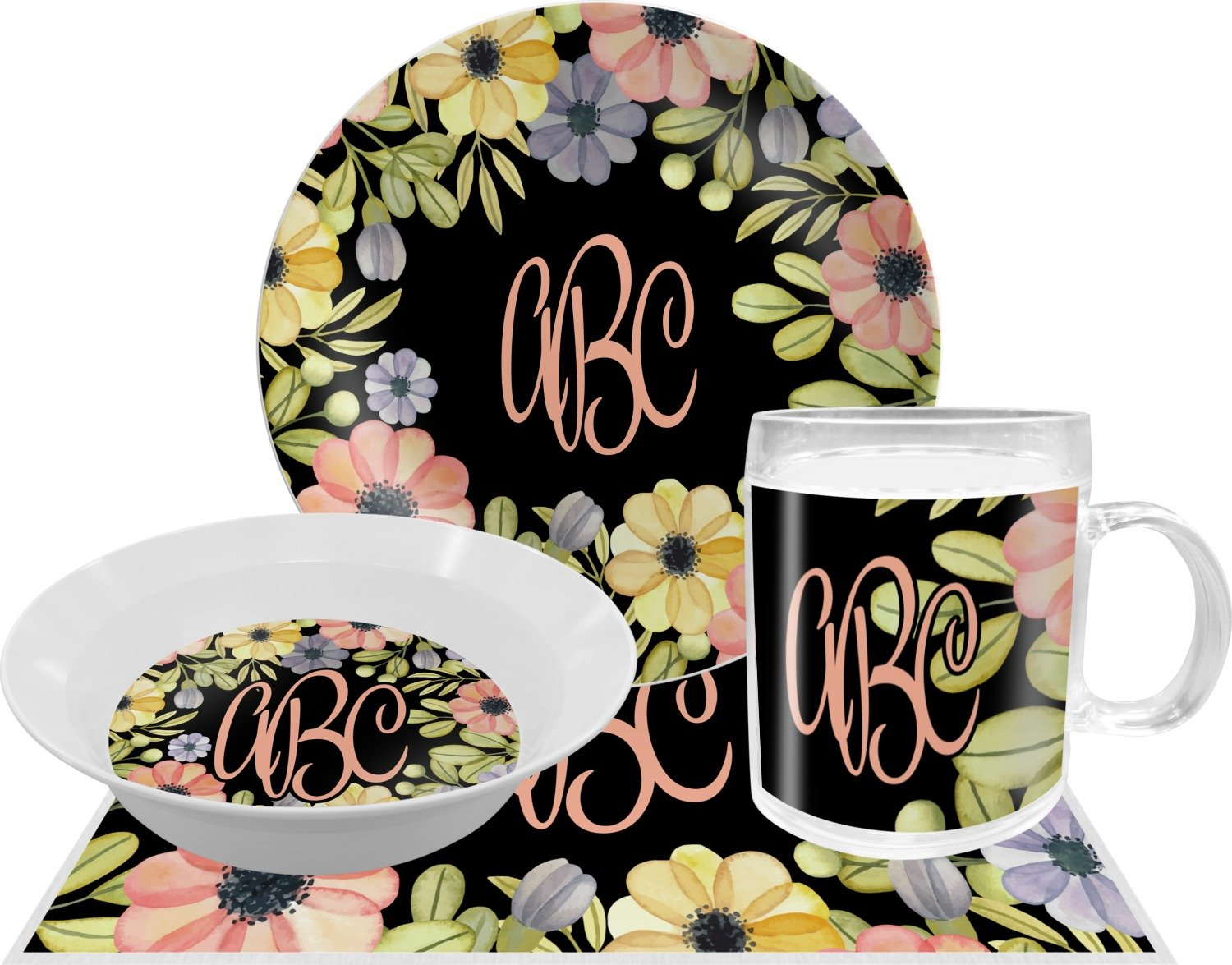 Boho Floral Dinner Set - 4 Pc (Personalized)